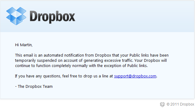 Dropbox is not a hosting